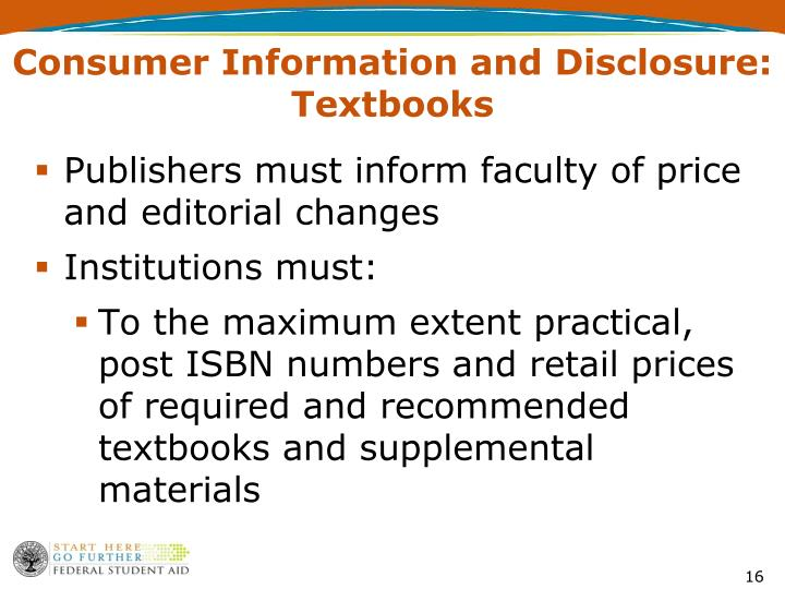 Consumer Information and Disclosure: Textbooks