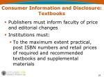 consumer information and disclosure textbooks
