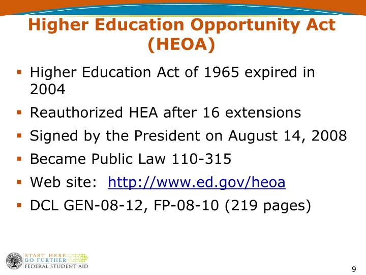 Higher Education Opportunity Act (HEOA)