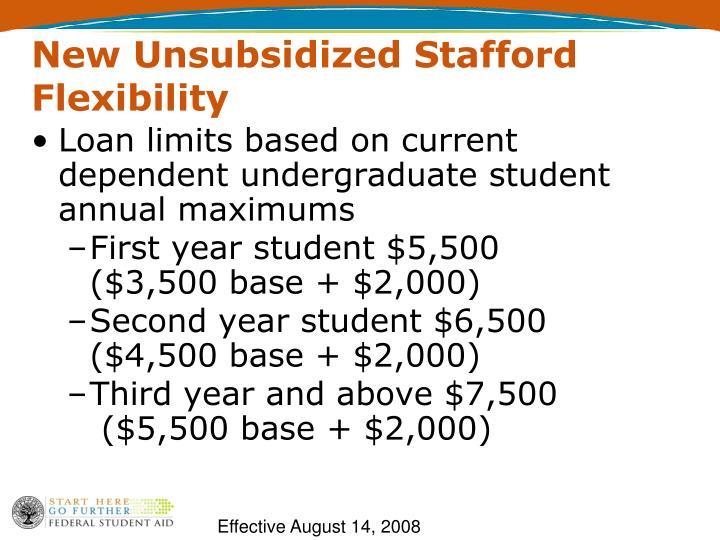 New Unsubsidized Stafford Flexibility