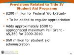 provisions related to title iv student aid programs