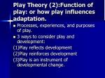 play theory 2 function of play or how play influences adaptation