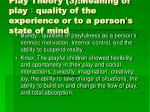 play theory 3 meaning of play quality of the experience or to a person s state of mind