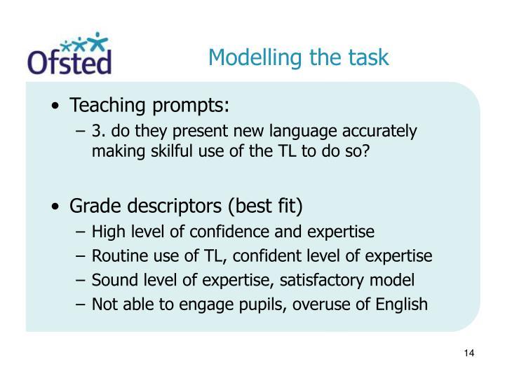 Modelling the task