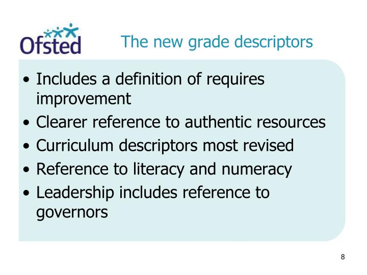The new grade descriptors
