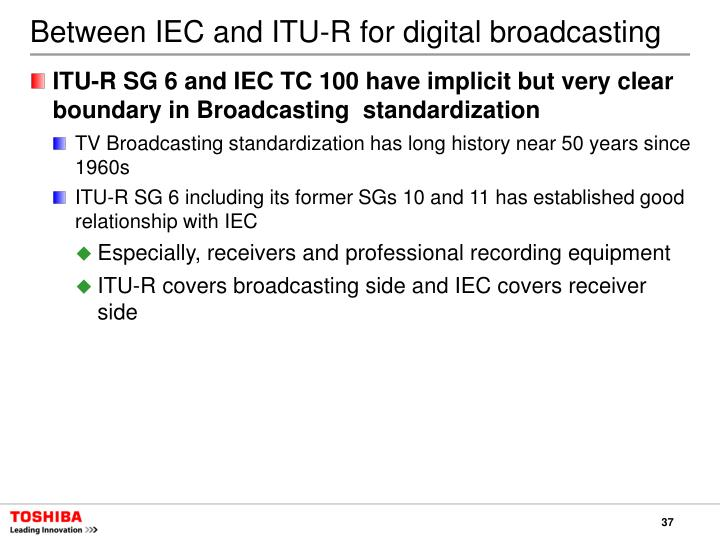 Between IEC and ITU-R for digital broadcasting