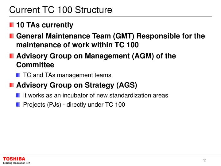 Current TC 100 Structure