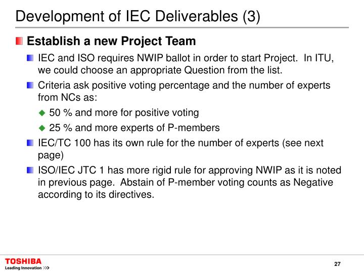 Development of IEC Deliverables (3)