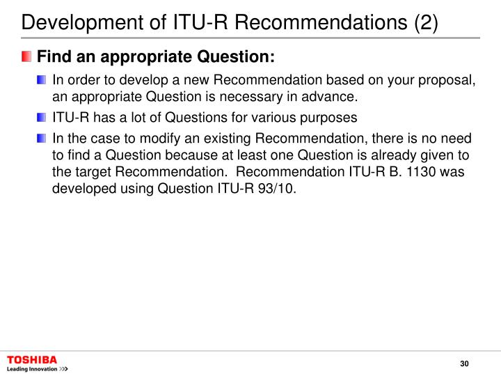Development of ITU-R Recommendations (2)