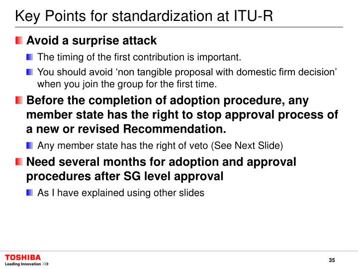 Key Points for standardization at ITU-R