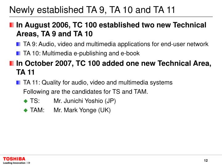 Newly established TA 9, TA 10 and TA 11