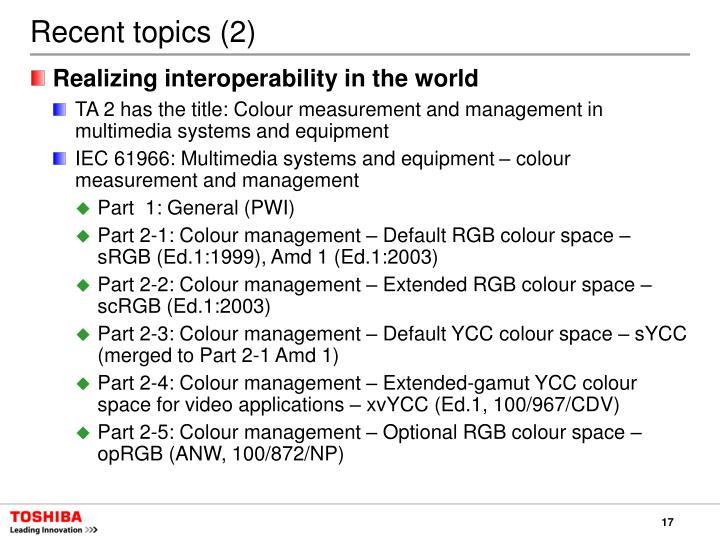 Recent topics (2)