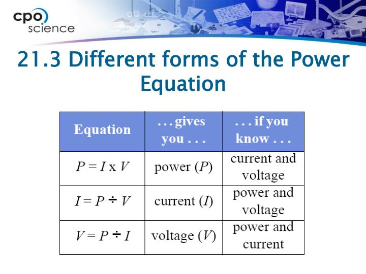 21.3 Different forms of the Power Equation