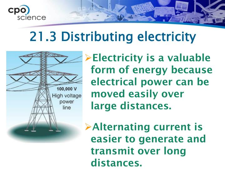 21.3 Distributing electricity