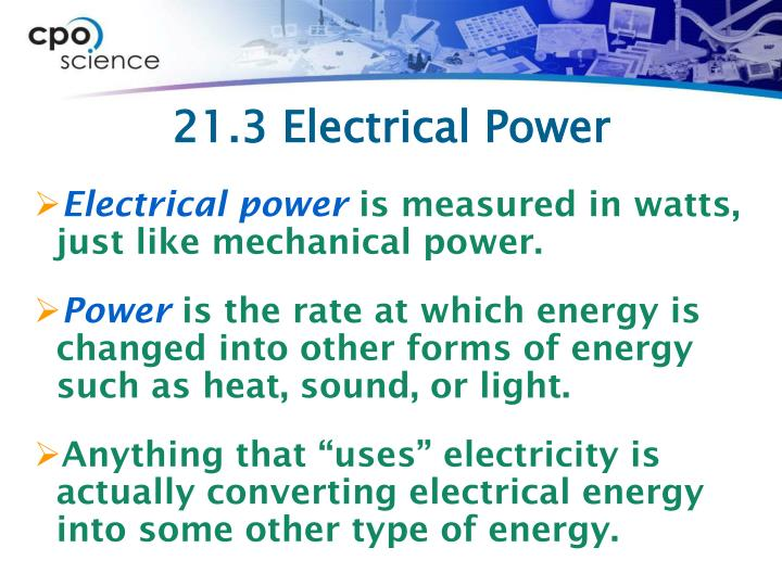 21.3 Electrical Power