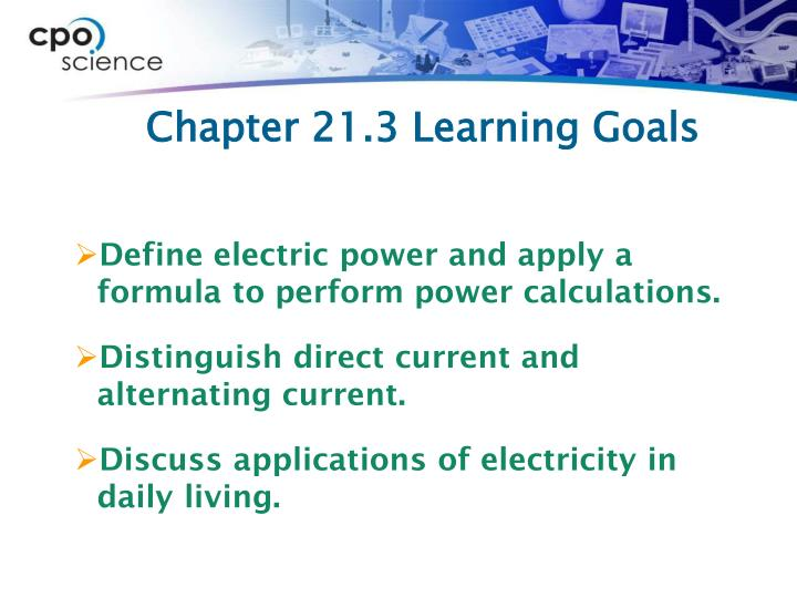 Chapter 21 3 learning goals