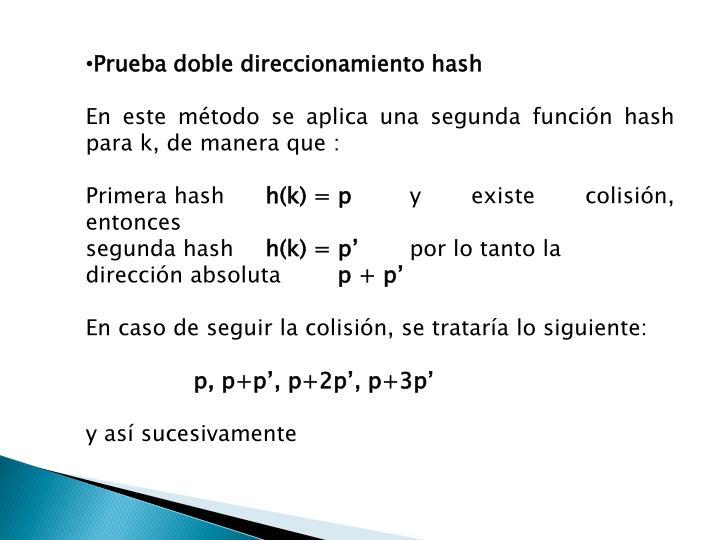 Prueba doble direccionamiento hash