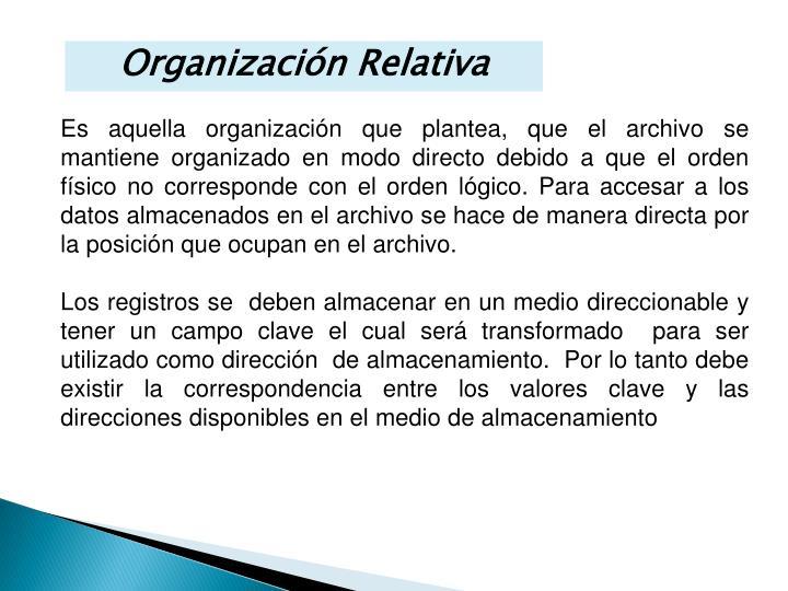 Organización Relativa