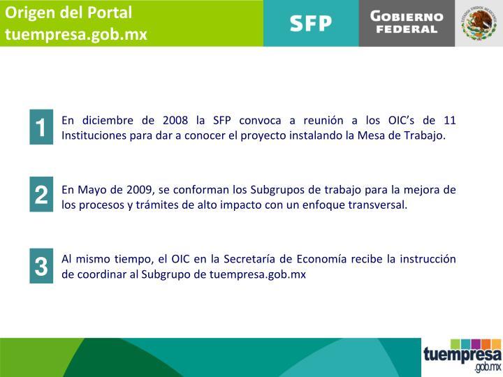 Origen del Portal tuempresa.gob.mx