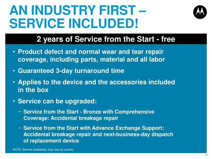 AN INDUSTRY FIRST – SERVICE INCLUDED!