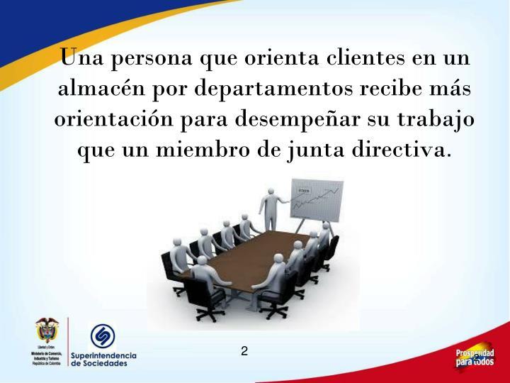 Una persona que orienta clientes en un almacén por departamentos recibe más orientación para desempeñar su trabajo que un miembro de junta directiva