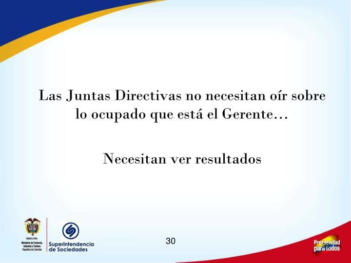 Las Juntas Directivas no necesitan oír sobre lo ocupado que está el Gerente…