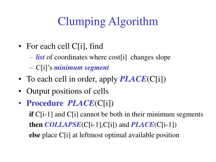 Clumping Algorithm