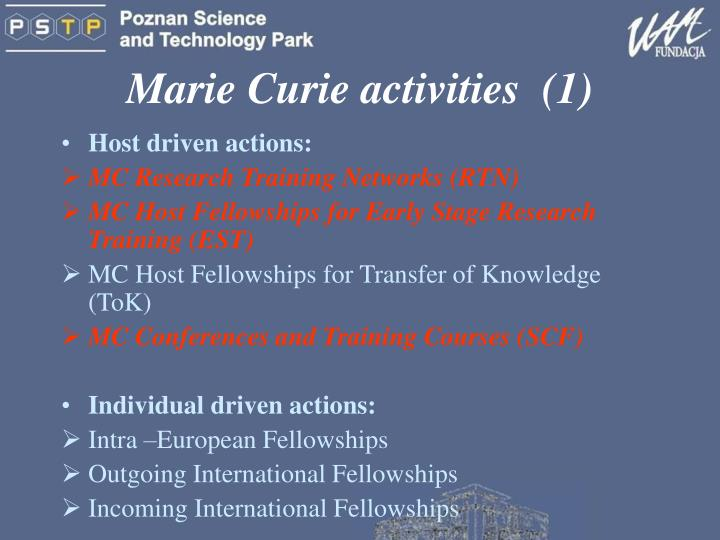 Marie curie activities 1