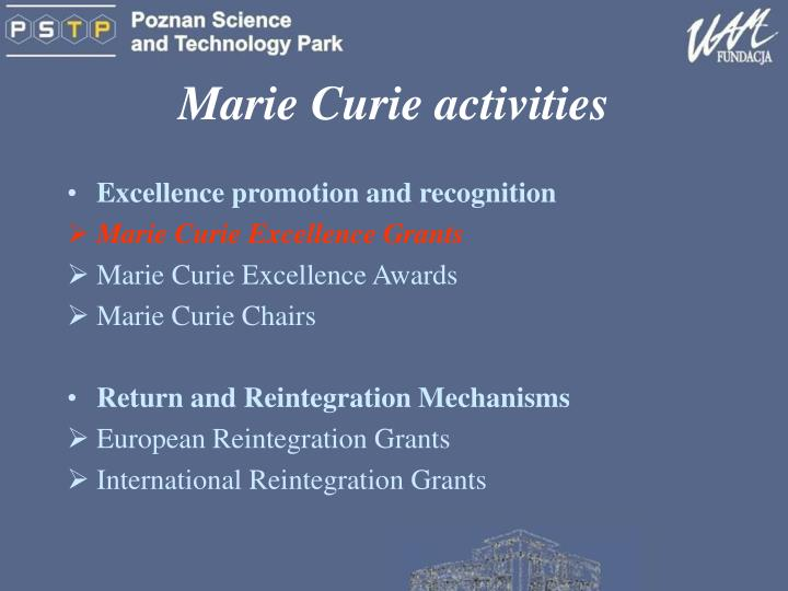 Marie Curie activities