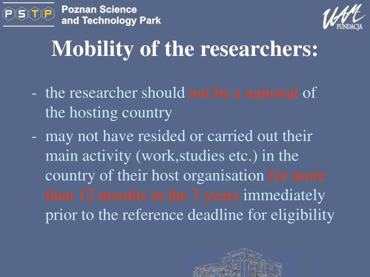 Mobility of the researchers: