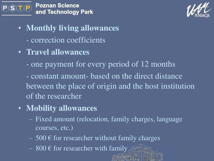 Monthly living allowances