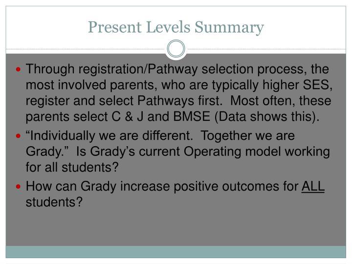 Present Levels Summary