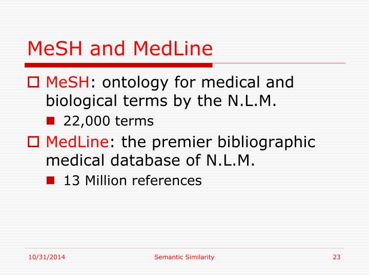 MeSH and MedLine