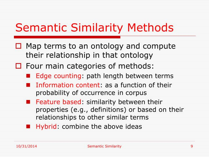Semantic Similarity Methods