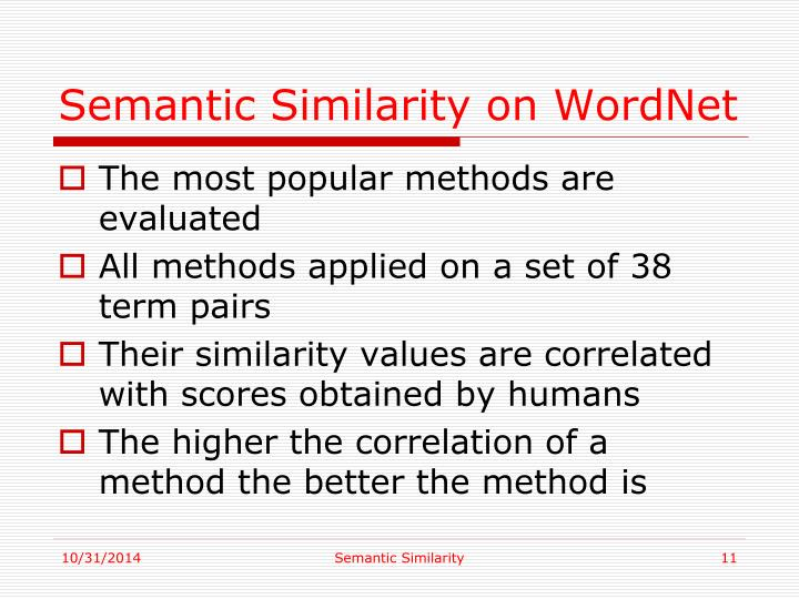 Semantic Similarity on WordNet