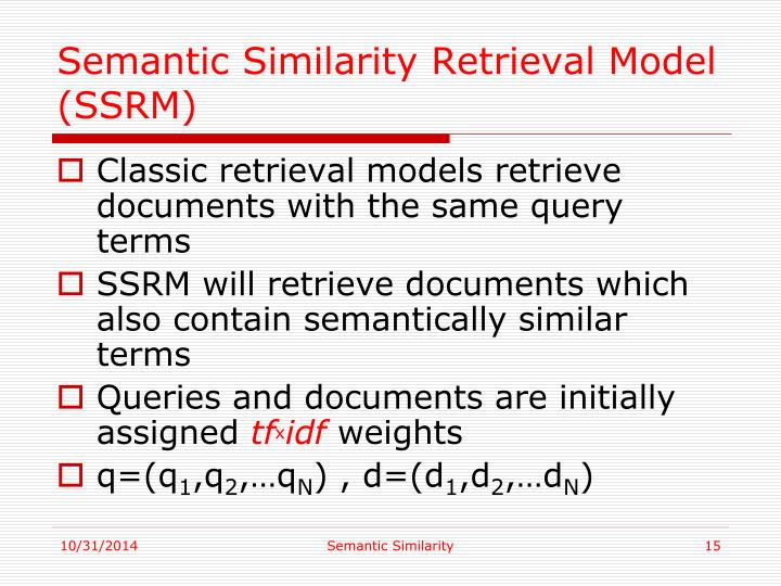 Semantic Similarity Retrieval Model (SSRM)