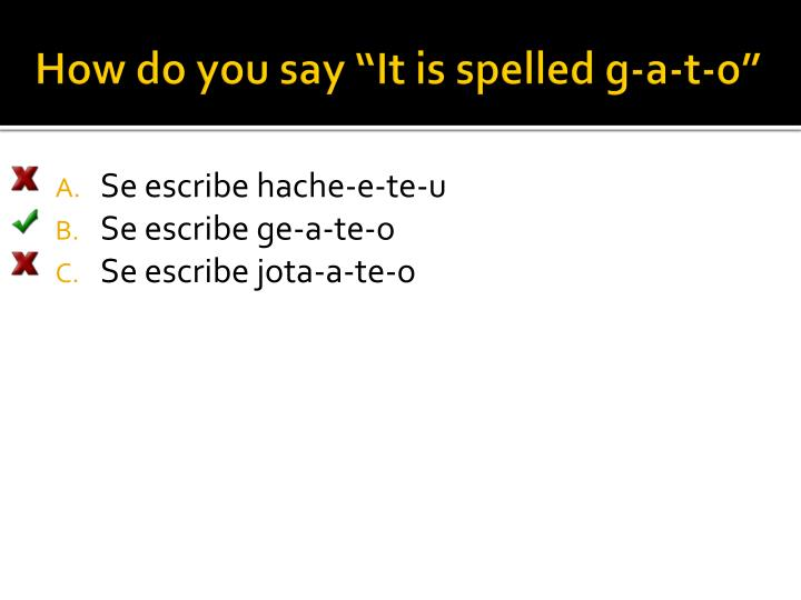 """How do you say """"It is spelled g-a-t-o"""""""