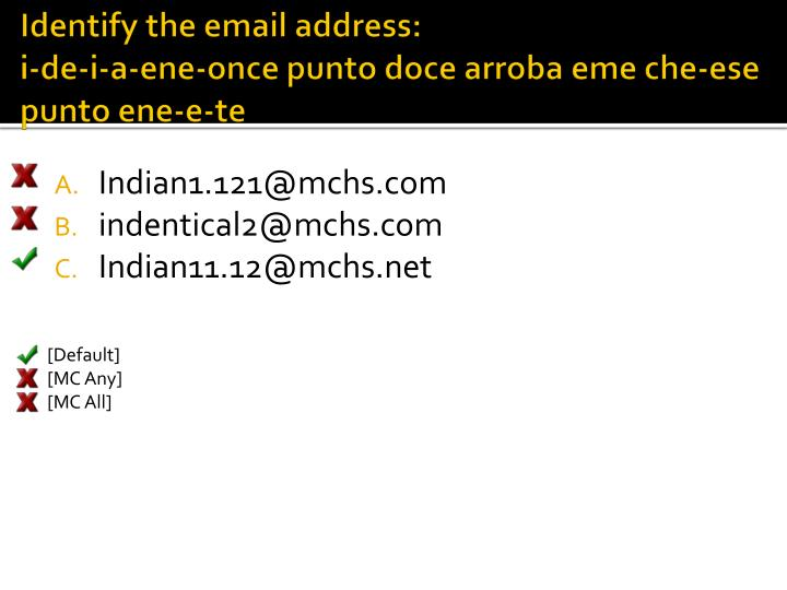 Identify the email address: