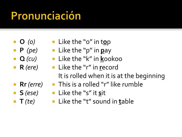 Pronunciación