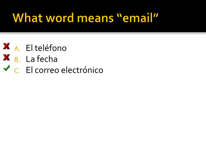 "What word means ""email"""