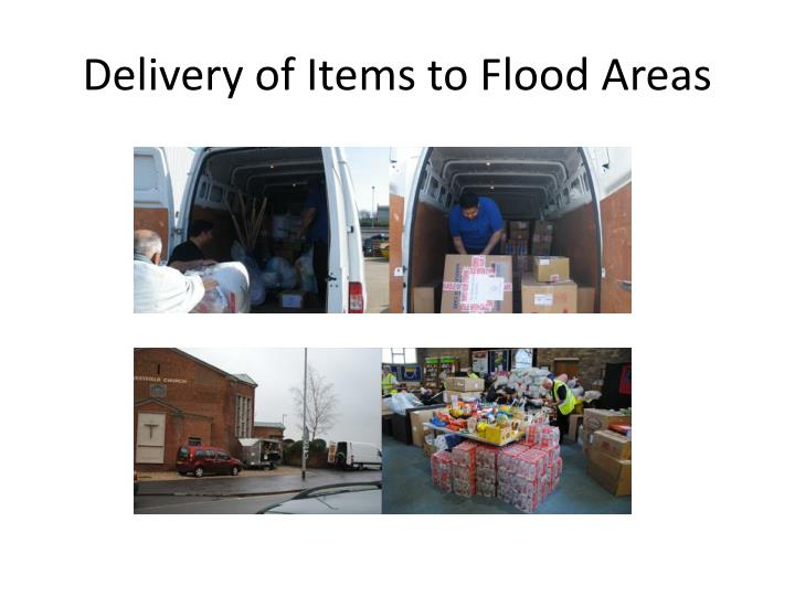 Delivery of Items to Flood Areas