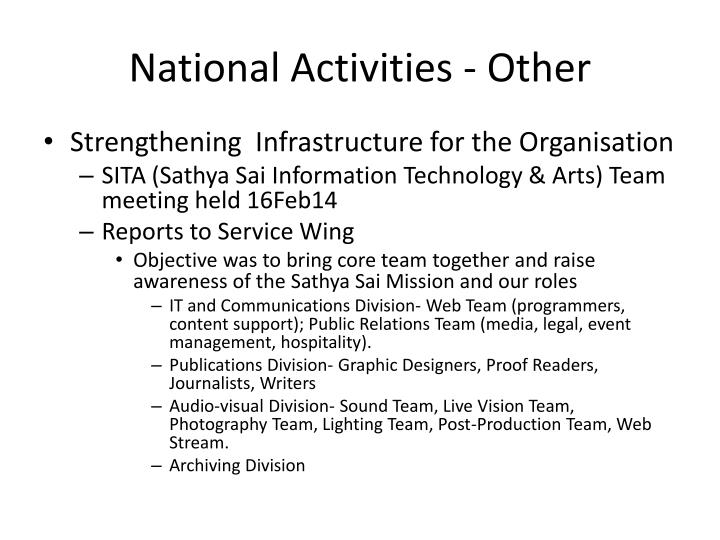 National Activities - Other