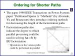 ordering for shorter paths
