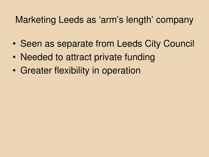 Marketing Leeds as 'arm's length' company