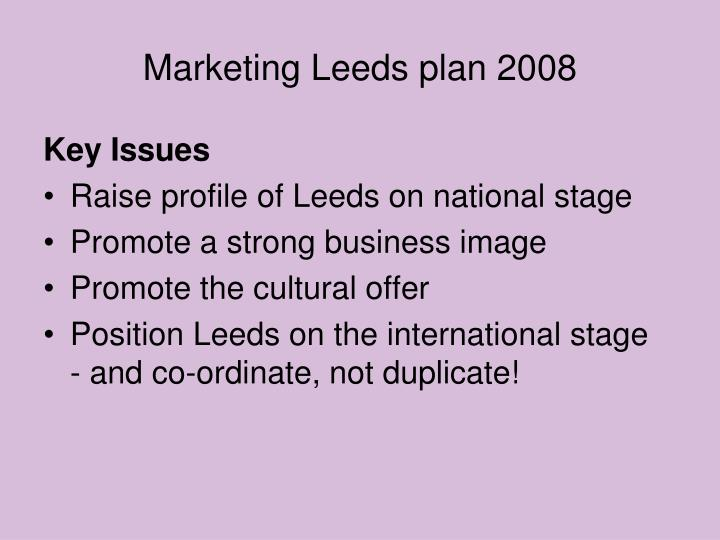 Marketing Leeds plan 2008