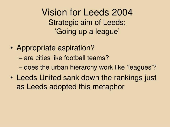 Vision for Leeds 2004