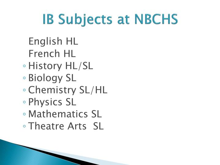 IB Subjects at NBCHS