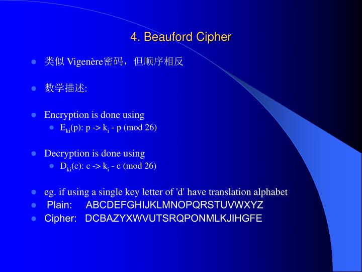 4. Beauford Cipher