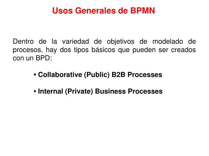 Usos Generales de BPMN