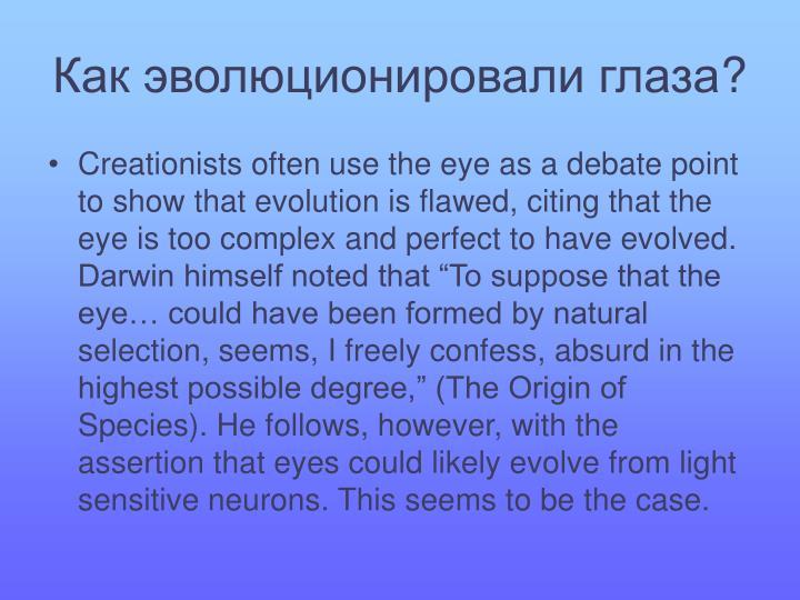 Как эволюционировали глаза